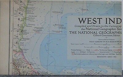 Vintage 1954 National Geographic Map of West Indies