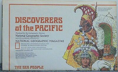 Vintage 1974 National Geographic Map of Discovers of the Pacific