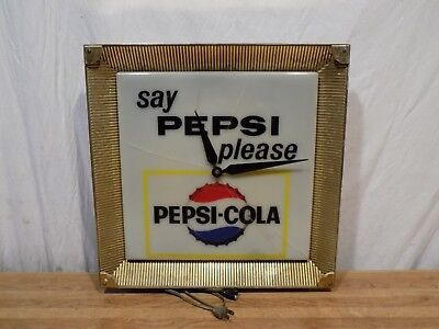 1950s SAY PEPSI PLEASE CLOCK VINTAGE ADVERTISING SIGN LIGHTED COLA VINTAGE SODA!