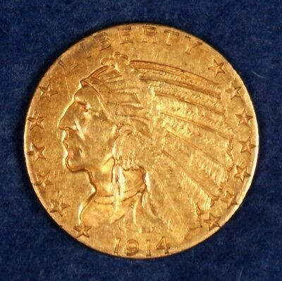 1914-S $5 Gold Indian Head Half Eagle Coin **Better Date**