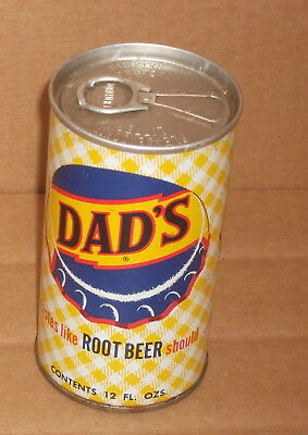 12 oz DAD'S ROOT BEER STILL HAS TAB Pull Top Steel Soda Pop Can