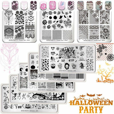 BORN PRETTY Nail Art Stamping Plates Halloween Trick or Treat Lace Templates DIY
