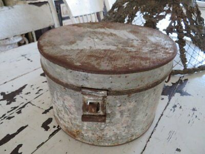 THE BEST Old Antique ROUND Metal Tin PANTRY BOX Perfect PATINA Chippy PAINT Lid
