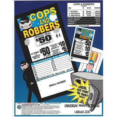 """2 Games of """"Cops & Robbers"""" Twice the Fun1 Window Pull Tab 100 Tickets"""