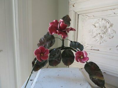 OMG OLD FRENCH PINK PORCELAIN Ceramic ROSE & FLOWERS  Metal Leaves ARCHED STAND