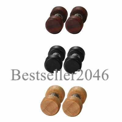 2-6pcs Punk Wood Barbell Stainless Steel Pin Dumbbell Stud Earrings Mens Jewelry