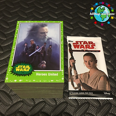 2017 Topps Star Wars Journey To The Last Jedi 110-Card Green Parallel Set & Wrap