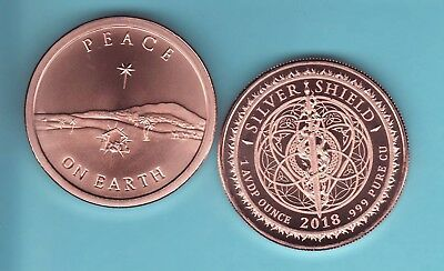 2018   PEACE ON EARTH  1 oz. Copper Round Coin  from Silver Shield