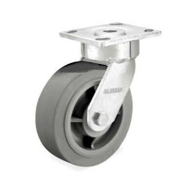 "One Swivel Plate Caster with Non Marking Gray Rubber 6"" x 2"" Wheel 600# Cap"
