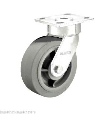 "One Swivel Plate Caster with Non Marking Gray Rubber 8"" x 2"" Wheel 675# Cap"