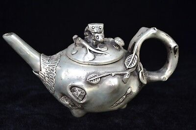 china Collectible Old tibet silver carve branch animal handwork Teapot antique