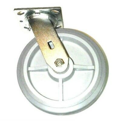 "(Clearance) Swivel Plate Caster with Soft Flat Tread Rubber 8"" Non-Marking Wheel"
