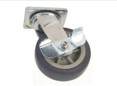 "Swivel Plate Caster with Soft Rubber 6"" x 2"" Soft Non Marking Wheel w Cam Brake"