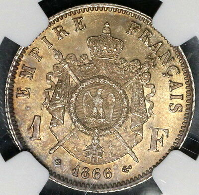 1866-BB NGC MS 63 FRANCE Silver 1 Franc Napoleon III Coin (16040504D)