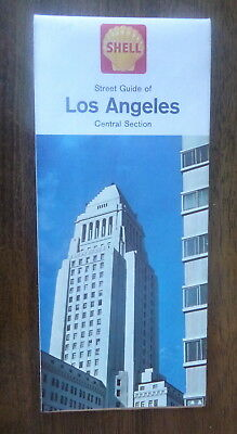 1964 Los Angeles central section  road map Shell oil  gas Santa Monica Burbank
