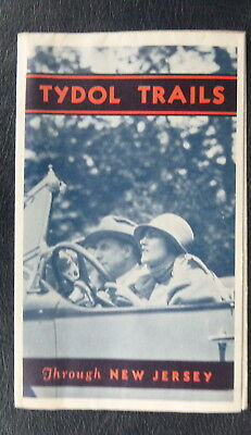 1931 New Jersey  road map Tydol  oil  gas route 66