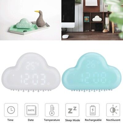LED Digital Alarm Clock Cloud Shape Intelligent Time Temperature Date Clock