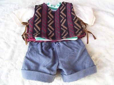Alte Puppenkleidung Pants Vest Suit Outfit vintage Doll clothes 45 cm Doll Boy