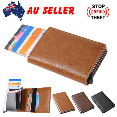 Leather Credit Card Holder Cash Wallet Clip RFID Case Blocking Money Purse