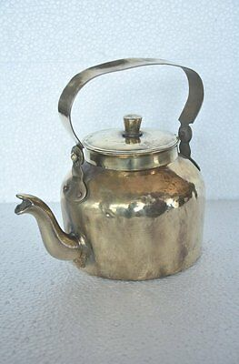 Old Brass Handcrafted Solid Unique Shape Tea Kettle , Rich Patina