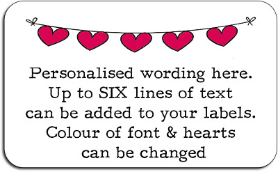Bunting Hearts Crafts Personalised Labels with FREE protective wallet