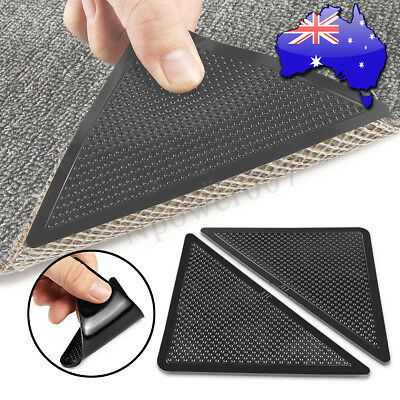 8Pcs RUG CARPET MAT GRIPPERS RUGGIES NON SLIP SKID REUSABLE WASHABLE GRIPS MECO