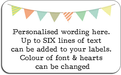 Bunting Pattern Crafts Personalised Labels with FREE protective wallet