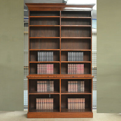 Huge Victorian Mahogany Antique Library Open Bookcase