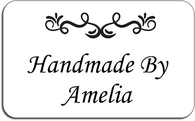 Handmade By Ornament Style Personalised Labels with FREE protective wallet