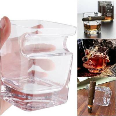 Crystal Whiskey Glass Cup Cigar Holder Groove Rack Kitchen Bar Wine Drinking Mug