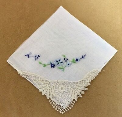 Vintage Ladies Hanky, Handkerchief, White, Embroidered Flowers, Blue, Lace