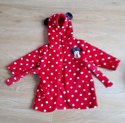 George Asda Baby Girls Red Polka Dot Minnie Mouse Dressing Gown Size 6-9 Months