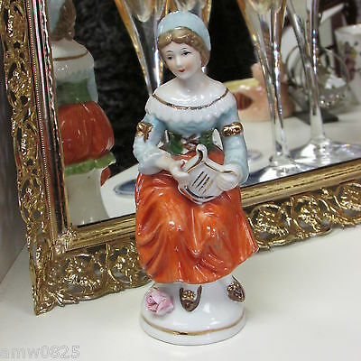 "Vintage Hand Painted Ceramic Figurine Lady With Lyre 5 3/4"" Orange Skirt Gold"