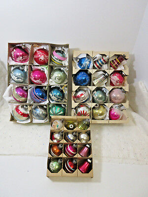 3 Boxes Of Vintage Shiny Brite-Usa Glass Christmas Ornaments W/boxes-36 Total