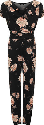 Plus Womens Short Sleeve Tied Belted Floral Print Cowl Neck Ladies Jumpsuit