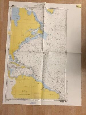 Nautical Chart North Atlantic Ocean Western Portion Sept 1982 Maritime Map 4488