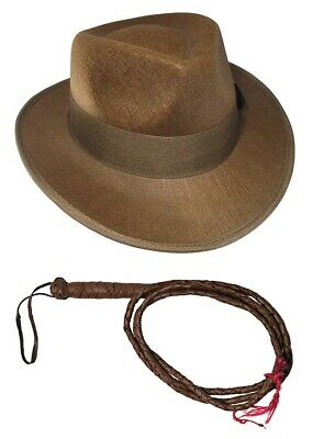 Child Indiana Jones Accessory Set Brown Fedora Hat 6 Foot Whip One Size Adult