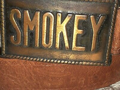 VTG 1950s OFFICIAL SMOKEY THE BEAR TOOLED LEATHER 26 BELT & METAL BUCKLE