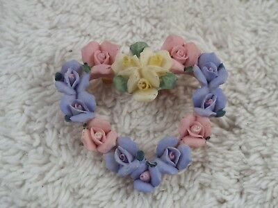 Pink Blue Yellow Resin Rose Heart Pin (C27)