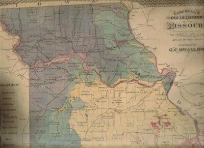 1872 Campbell's Geological Map Of Missouri 15 By 12 Inch Color Map- Antique Map!