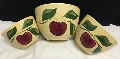 Watt Pottery Apple Nesting Stacking Tall Yelloware Mixing Bowl Set 63 64 65