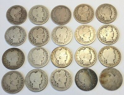 20 Silver Quarters - 19 Barber + 1 Very Worn Seated Liberty
