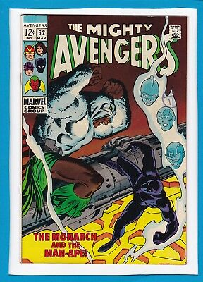 """Avengers #62_March 1969_Vf_Black Panther_""""monarch And The Man-Ape""""_Silver Age!"""