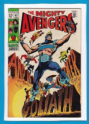 """Avengers #63_Apr 1969_Very Fine Minus_""""and In This Corner...goliath""""_Silver Age!"""