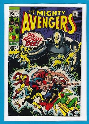 """Avengers #67_Aug 1969_Vf Minus_Ultron_Classic """"die, Avengers...die""""_Barry Smith!"""