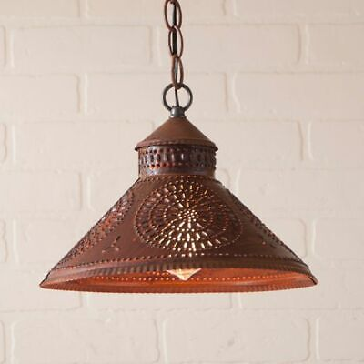 Country new distressed STOCKBRIDGE rusty punch tin hanging ceiling light /nice
