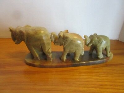 Vintage Hand Carved Onyx  Elephants Three-in-a-Row on Onyx Base Made in India