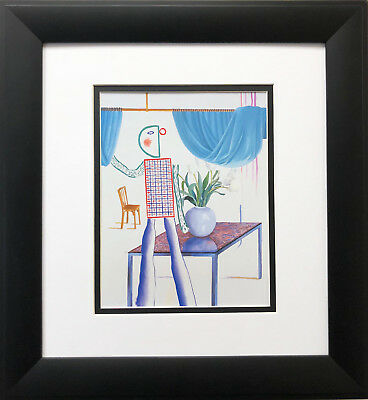 "David Hockney ""Invented Man Revealing Still Life"" Pop Art CUSTOM FRAMED NEW Men"