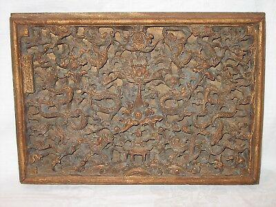 Antique Vintage Asian Chinese Relief Wall Panel Dragons Carved Wood