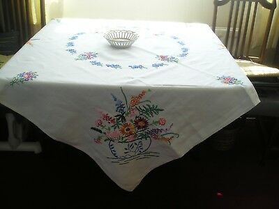 GORGEOUS VINTAGE LINEN TABLECLOTH with BEAUTIFUL COLOURED HAND EMBROIDERY
